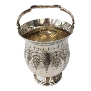 Antique Etched Silver Vase