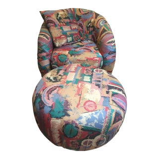 Mid Century Modern Swivel Groovy Chair & Ottoman - a Pair For Sale
