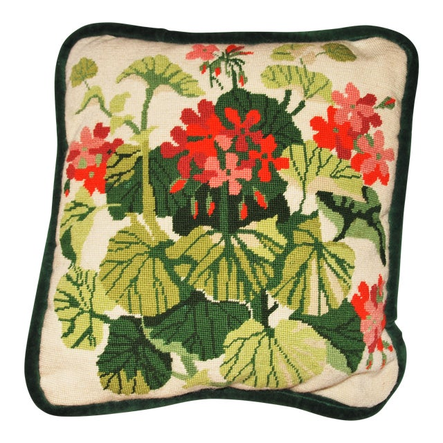 Vintage Geranium Needlepoint Pillow - Image 1 of 6