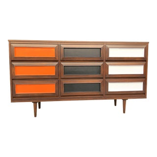 John Keal Mid-Century Walnut Nine Drawer Multi-Color Dresser