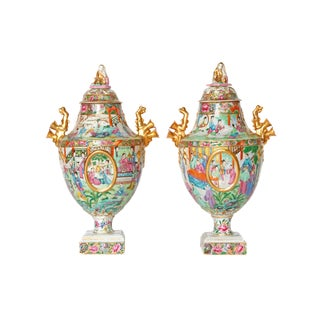 Chinese Export Covered Urns / Pair