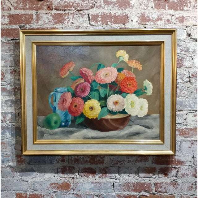 Frode Dann Still Life of Dahlias Oil Painting, 1942 For Sale - Image 10 of 10