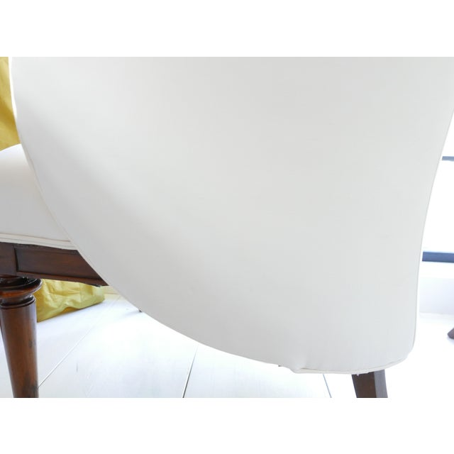 Cotton Vintage Mid-Century White Armchairs- A Pair For Sale - Image 7 of 11