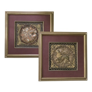 Asian Dimensional Framed Textile Art - a Pair For Sale