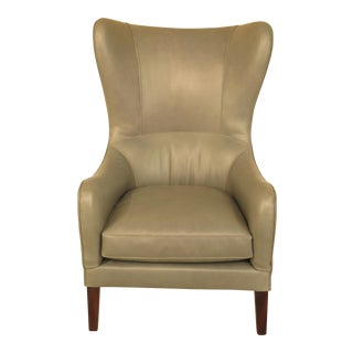 Modern Design Stitched Leather Fan Back Wing Chair
