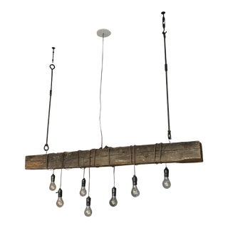Wood and Metal Industrial Linear Chandelier For Sale