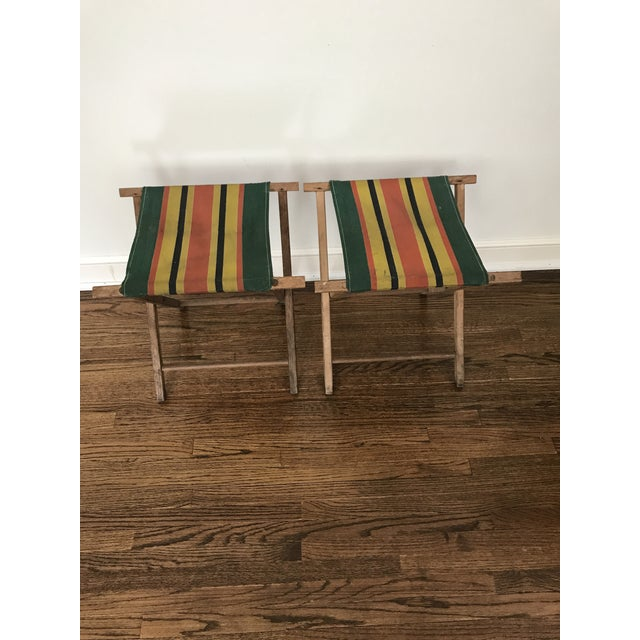 Canvas Vintage Striped Folding Canvas Camp Stools - A Pair For Sale - Image 7 of 8