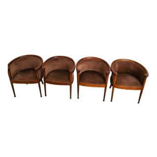 Art Deco Barrel Back Armchairs - Set of 4 For Sale