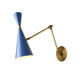 'Monolith' Italian Reading Lamp Brass & Bright Blue Enamel Blueprint Lighting For Sale