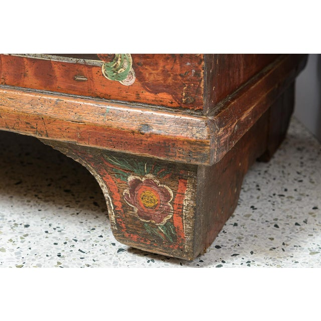 Traditional Central EuropeanPainted Trunk For Sale - Image 3 of 9