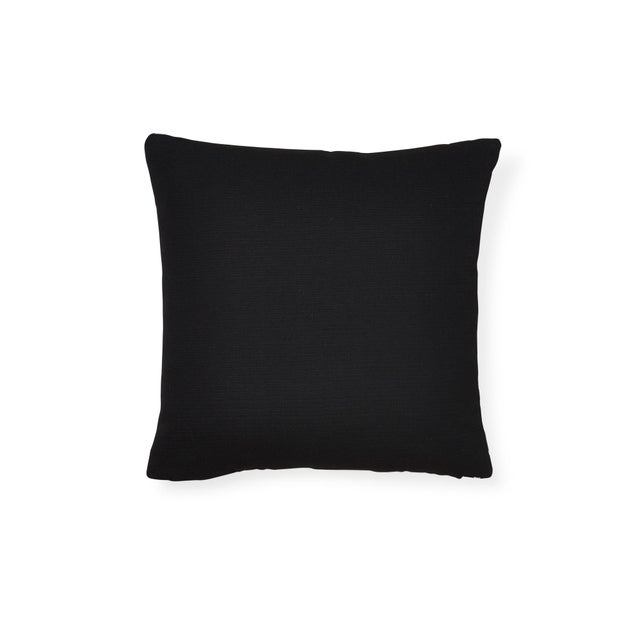 "The face of this 16"" x 16"" indoor/outdoor pillow features Zebra Palm in Black paired with Santa Margherita in Black on the..."