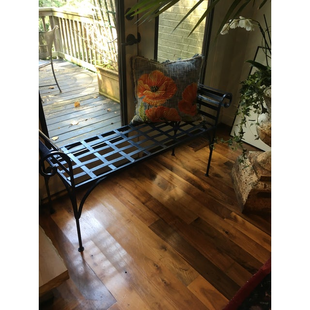 1990s 1990s Boho Chic Lattice Wrought Iron Backless Bench For Sale - Image 5 of 7