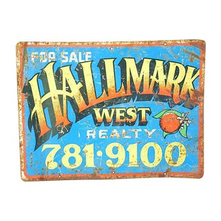 Mid-Century Colorful Hallmark Realty Sign For Sale