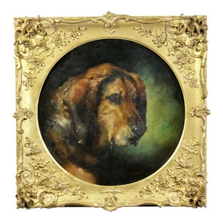 Late 19th Century Framed Oil on Panel of a Dog For Sale