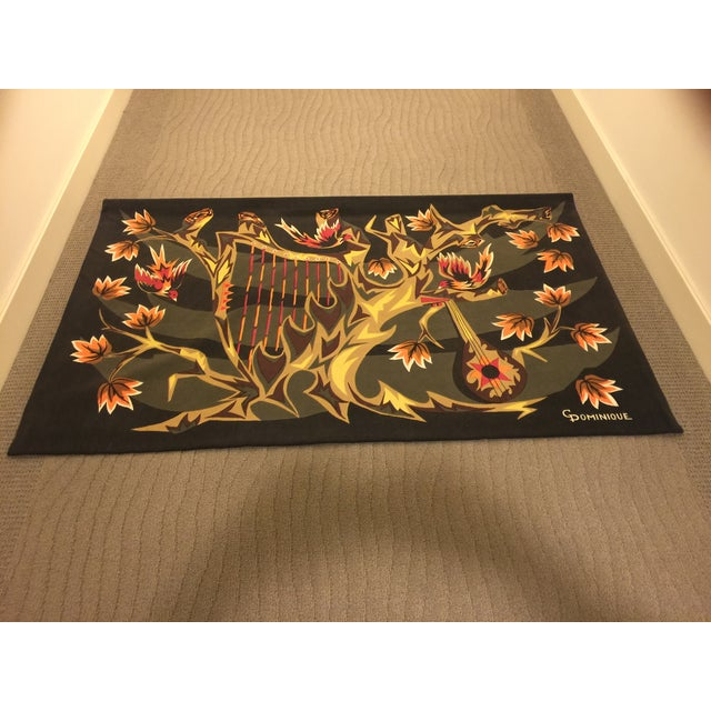 Mid Century French Wool Wall Tapestry - Image 2 of 6