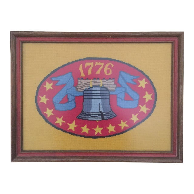 Vintage Americana Patriotic Liberty Bell 1776 Framed Needlepoint Art - Image 1 of 6