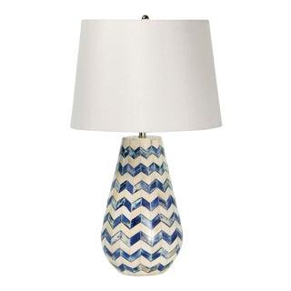 Cassia Chevron Table Lamp in Blue For Sale