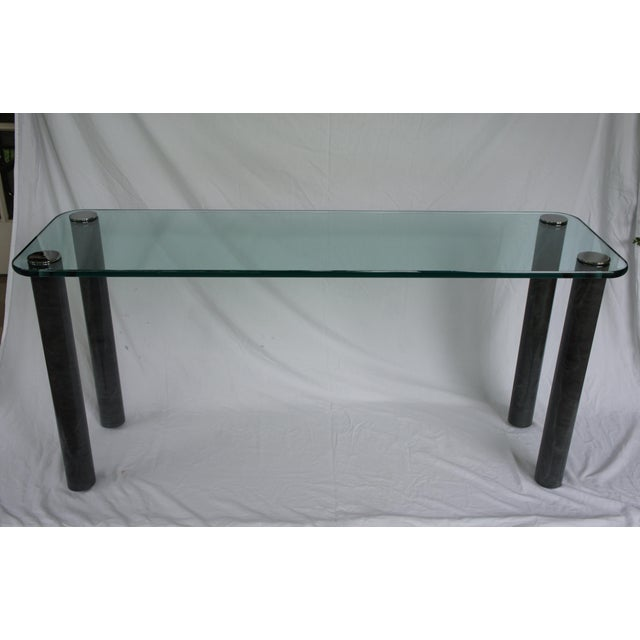 Gorgeous Pace Collection marble-look and clear glass console table designed by Leon Rosen. Great 70s vibe! The table...
