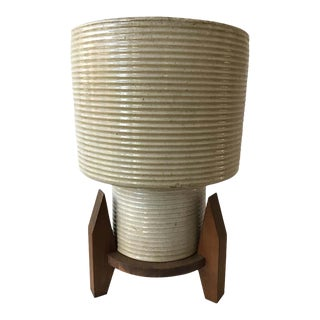 1960s Ceramic Planter on Wood Base For Sale