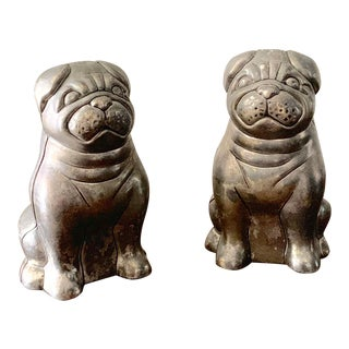 Vintage Silver Plated Metal Bulldog Salt and Pepper Shakers - a Pair For Sale