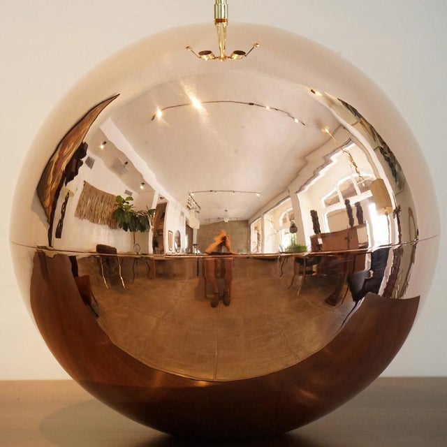 1970s 1970s Karl Springer Copper Orb Table Lamp For Sale - Image 5 of 7