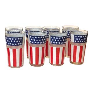Usa American Flag Stars & Stripes Motif Glasses - Set of 8