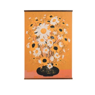Mid-Century Modern Robert Bushong Silk Screen Wall Hanging Tapestry by Tom Tru Corp For Sale