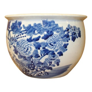 Chinese Blue White Oriental Flower Birds Scenery Porcelain Pot For Sale