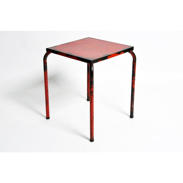 1960s French Rustic Red Café Table For Sale - Image 4 of 7