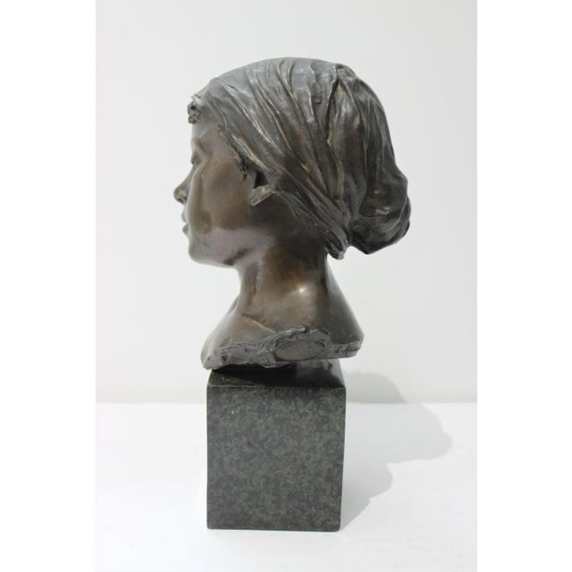 Portraiture Antique Edouard Rossi of Naples.Bronze Sculpture of a Young Girl For Sale - Image 3 of 13