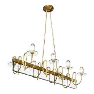 Mid-Century Modern Brass & Glass Floral Glass Chandelier For Sale
