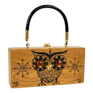 Enid Collins Original Night Owl Wood Box Bag by Collins of Texas Vintage For Sale