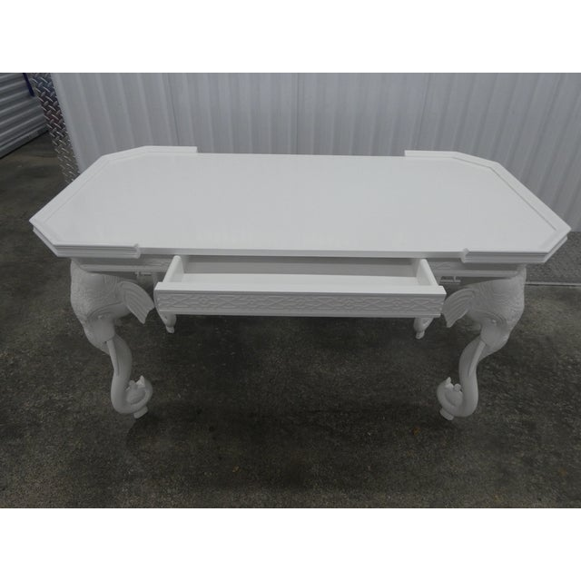 1970s Hollywood Regency Gampel Stoll White Lacquer Elephant Writing Desk For Sale - Image 11 of 13
