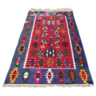 "Vintage Handwoven Turkish Kilim Rug - 3'10"" x 6'4"""