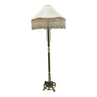 1900 Antique Victorian Brass and Jadeite Floor Lamp For Sale