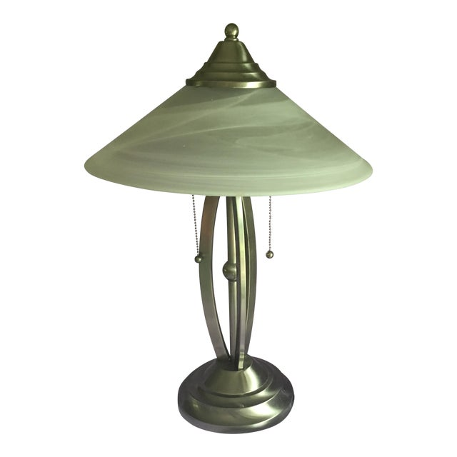 Contemporary Stainless Lamp & White Glass Shade - Image 1 of 5