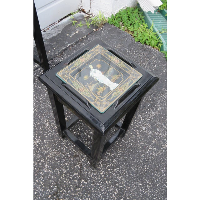 Oriental Black Painted Nesting Tables Set of Four For Sale In Miami - Image 6 of 13
