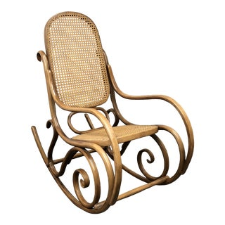 Thonet No.10 Bentwood + Cane Rocking Chair For Sale