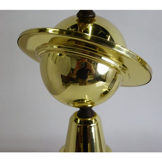 Gold 1940s Vintage Modern Brass and Wire Saturn Table Lamps- A Pair For Sale - Image 8 of 13