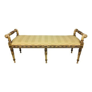 1990s Vintage Shabby Chic French Empire Bench For Sale