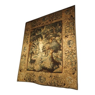 17th Century Flemish Tapestry of Forested Countryside, Wool and Silk, Circa 1680 For Sale