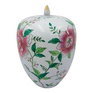 Vintage Asian Painted Porcelain Ginger Jar For Sale
