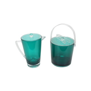 Vintage Lucite Ice Bucket & Pitcher, Green/Clear