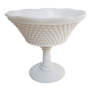 Footed Hobnail Milk Glass Serving Bowl For Sale