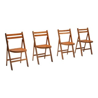 Mid-Century Modern Vintage Wooden Stackable Folding Chairs - Set of 4 For Sale