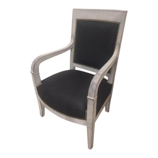 Painted Wood Chair With Black Linen Fabric For Sale