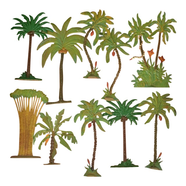 Vintage Mid-Century Hand-Painted Palm Trees - Set of 10 For Sale