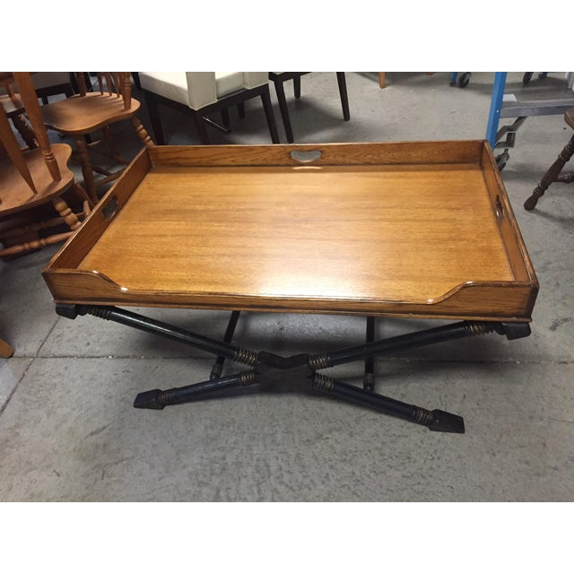 Beautiful, high end Drexel Heritage X Based coffee table with Antiqued oak butlers tray top. Top is not removable. Small...