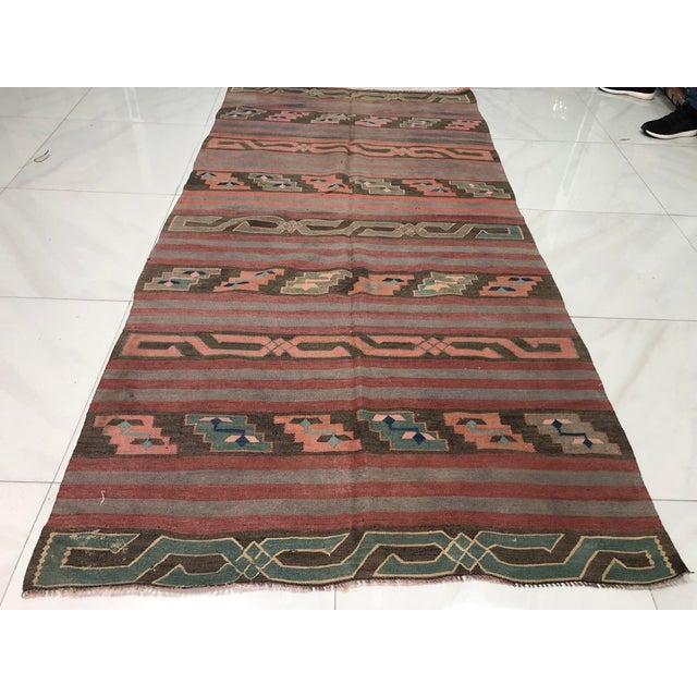 Turkish Tribal Handmade Kilim Rug - 4′ × 8′1″ For Sale - Image 6 of 11