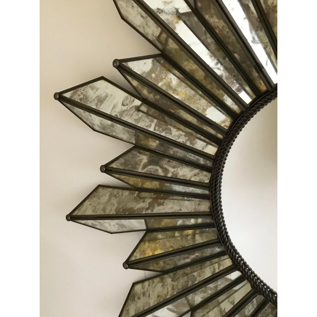 Sunburst Soleil Mirror With Angled Antiqued Mirror Rays For Sale - Image 4 of 9